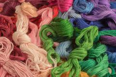 Skeins of colored threads for embroidery - mouline. background Stock Photos
