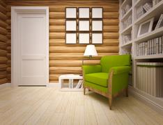 wooden house interior - stock illustration
