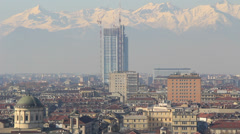 Torino roof tops with snowy mountains Stock Footage