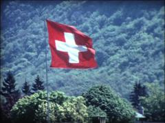 SUPER8 zoom on swiss flag Stock Footage