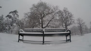 Stock Video Footage of Snowy Bench