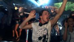 Dj playing. Hands up. Nightclub and dance. - stock footage