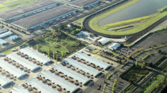 Horse Raceway - Aerial View Stock Footage