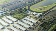 Stock Video Footage of Horse Raceway - Aerial View