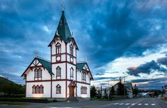 Stock Photo of icelandic church in the little town of husavik