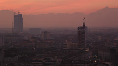 Overlook of Torino city at sunset (seven) Stock Footage