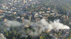 University of Washington Main Campus - Aerial View at Sunrise Stock Footage