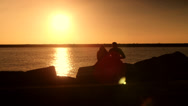 Stock Video Footage of Silhouette Love Couple Romantic Sunset