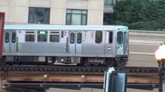 Subway of Chicago CTA overground close Stock Footage