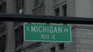 Stock Video Footage of Street sign Michigan Avenue Miracle Mile