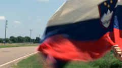Slovenian flag undulating in the wind Stock Footage