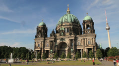 Berlin Cathedral & Fernsehturm Stock Footage