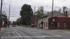 Almost empty street in Elizabethtown Kentucky Historic District Stock Footage