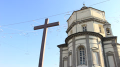 Church at top of Torino, Italy Stock Footage