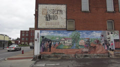 Wall paintings in the City of Elizabethtown Kentucky Historic District Stock Footage