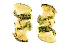 focus pineapple slice of arranged vertical. - stock illustration