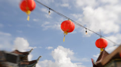 Chinese New Year Tilt Shift Pan Down at Chinatown in Los Angeles Stock Footage