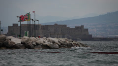 Castel dell'Ovo and gulf of Naples, Italy Stock Footage