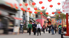 Chinese New Year Tilt Shift Time Lapse at Chinatown in Los Angeles Stock Footage