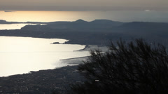 Gulf of Naples from the Vesuvius volcano, Italy, wide Stock Footage