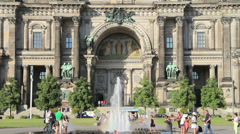 Berlin Cathedral fountain w fresco portion behind Stock Footage