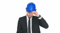 Engineer in a hardhat giving a public speech Stock Footage