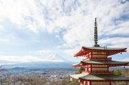 Stock Photo of red pagoda with mountain fuji landscape