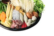 Stock Photo of ingredients sukiyaki in dish.