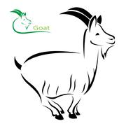 vector image of an goat on white background - stock illustration