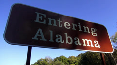 Entering Alabama sign on Natchez Trace - stock footage
