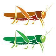 vector image of an grasshopper on white background - stock illustration