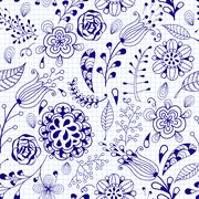 vector seamless floral summer doodle pattern - stock illustration