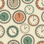 Stock Illustration of vector seamless pattern with vintage clock set