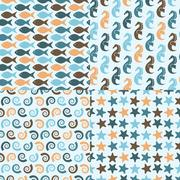vector seamless pattern with sea creatures - stock illustration