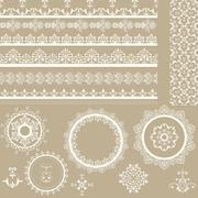 vector lacy ribbons, napkins, and design elements - stock illustration