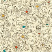vector seamless  floral patterns - stock illustration