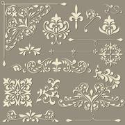 vector  vintage floral  design elements - stock illustration