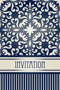 vector vintage invitation - stock illustration