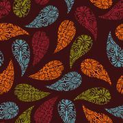 vector seamless paisley pattern - stock illustration