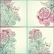vector  spring cards - stock illustration