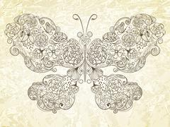 vector  butterfly made of flowers - stock illustration