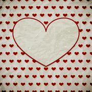 vector vintage valentine's card with hearts - stock illustration