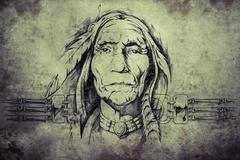 Stock Illustration of sketch of american indian elder