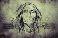 Stock Illustration of sketch of american indian elder
