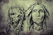 Stock Illustration of tattoo sketch of american indian elders