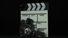 Old items for filming rotate on a black background Stock Footage