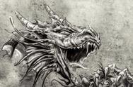 Stock Illustration of tattoo art, sketch of a anger medieval dragon