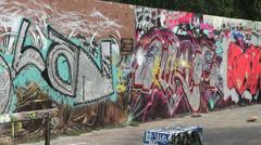 Berlin Mauerpark graffiti Stock Footage