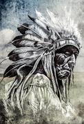 Sketch of tattoo art, indian head over artistic background Stock Illustration