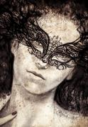 Stock Illustration of sketch made with digital tablet of venetian lady in sepia